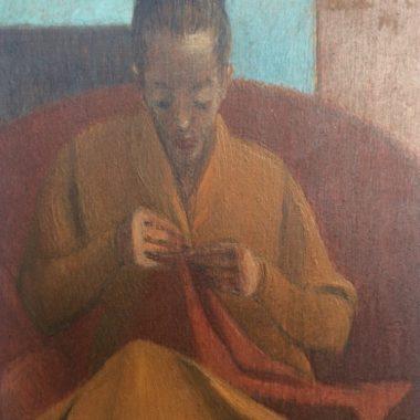 """""""Donna che cuce"""" opera di Antonio Calderara"""
